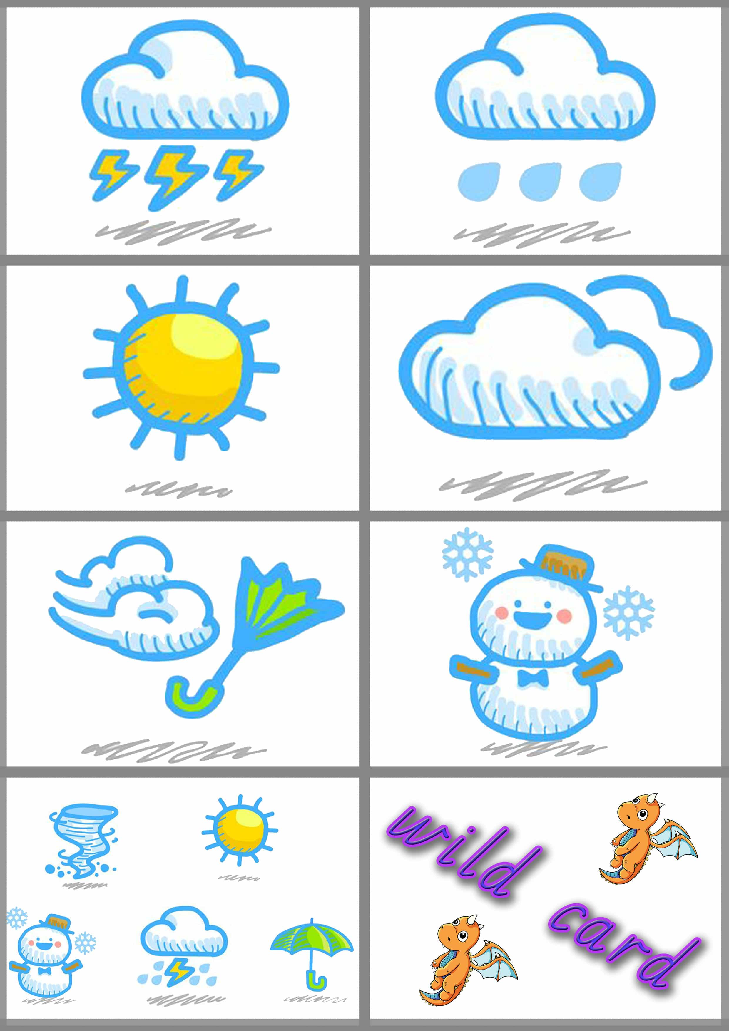 Japanese weather flash cards