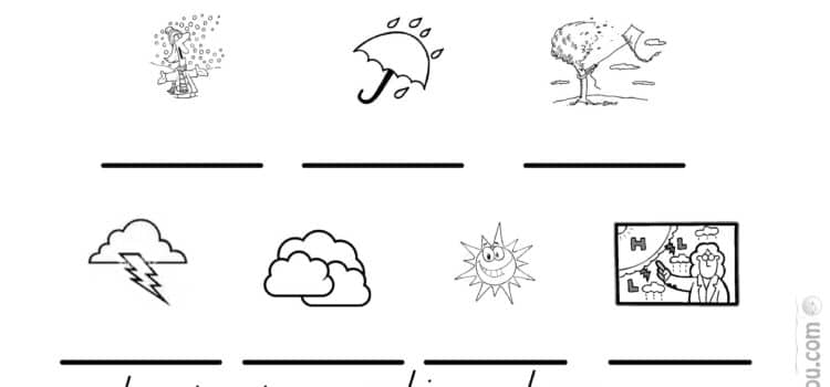 Japanese weather worksheet match and write