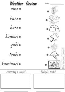 Japanese weather worksheet match up