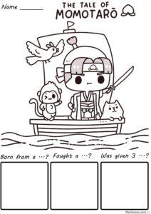 Japanese fairy story momotaro worksheet