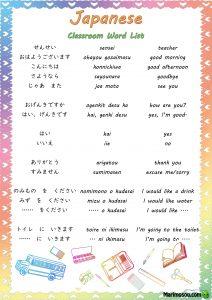 Japanese classroom word list