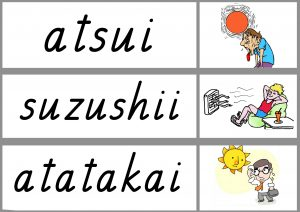 Japanese weather white board cards